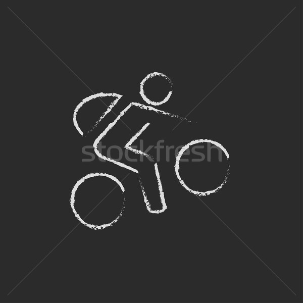Bicicleta ciclista ícone giz Foto stock © RAStudio