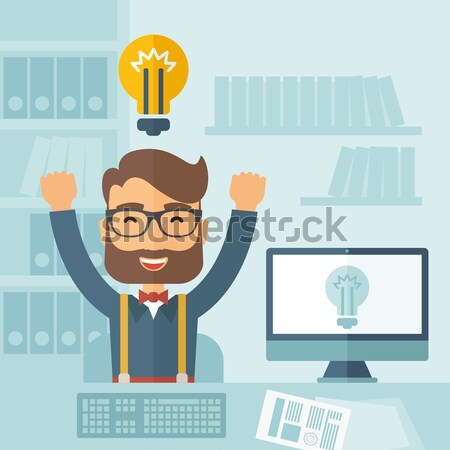 Business idee zwarte zakenman werken kantoor Stockfoto © RAStudio