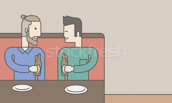 Photo stock: Hommes · séance · bar · deux · hommes · potable · bière