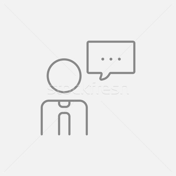 Uomo discorso piazza line icona web Foto d'archivio © RAStudio