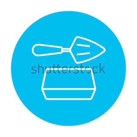 Spatola mattone line icona web mobile Foto d'archivio © RAStudio