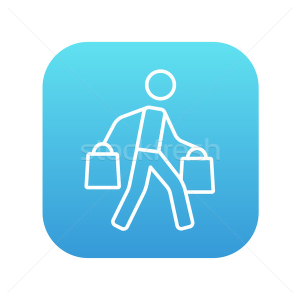 Man carrying shopping bags line icon. Stock photo © RAStudio