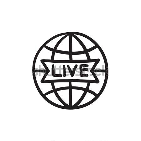 世界中 ライブ にログイン 行 アイコン ウェブ ストックフォト © RAStudio