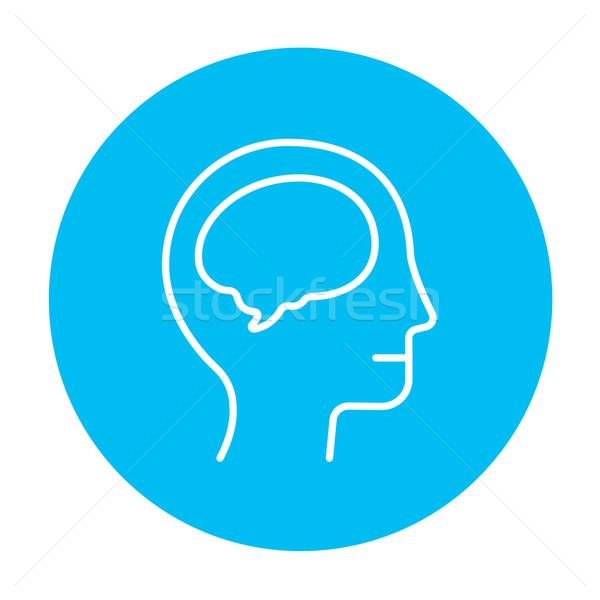 Human head with brain line icon. Stock photo © RAStudio
