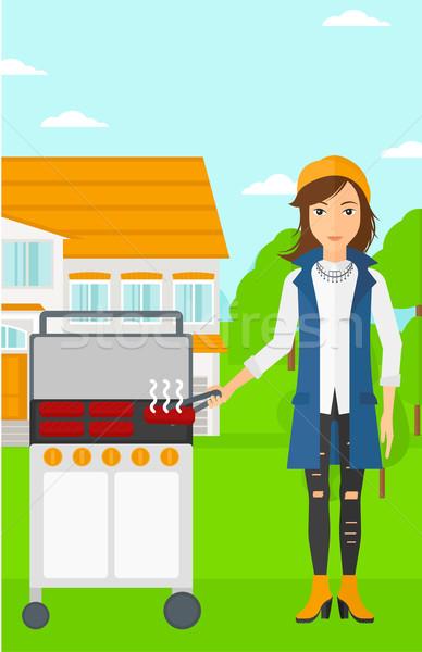 Vrouw barbecue huis vector ontwerp illustratie vector illustratie andrei krauchuk - Barbecue ontwerp ...