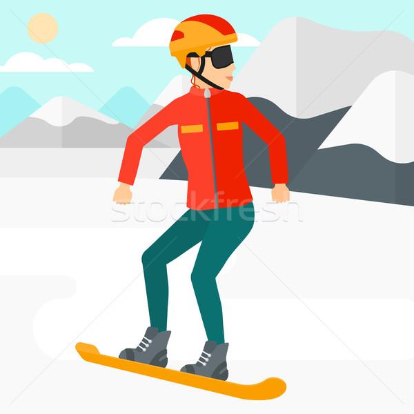 Snowboard donna neve montagna vettore Foto d'archivio © RAStudio