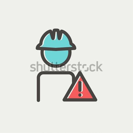 Munkás vigyázat felirat vonal ikon védősisak Stock fotó © RAStudio