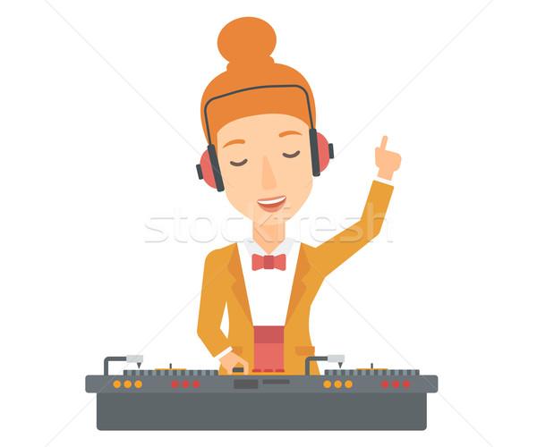 Gülen konsol el yukarı oynama müzik Stok fotoğraf © RAStudio
