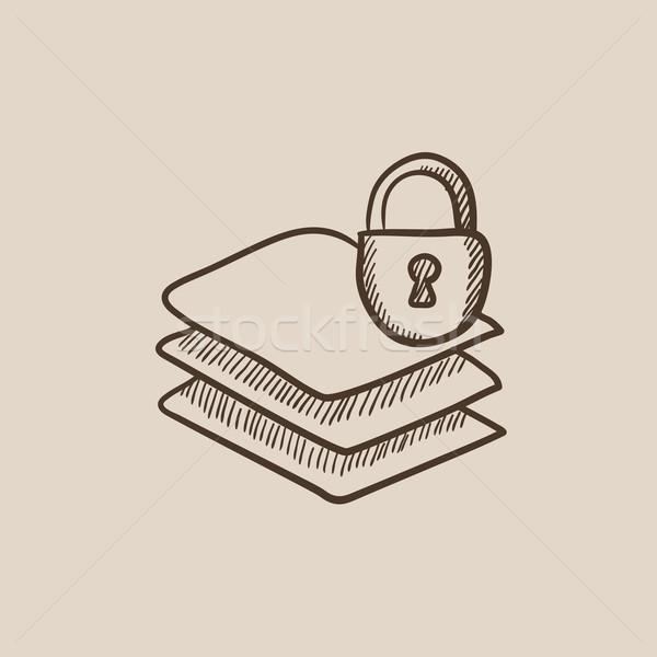 Stack of papers with lock sketch icon. Stock photo © RAStudio