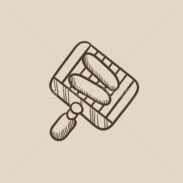 Grilled sausages on grate for barbecue sketch icon. Stock photo © RAStudio
