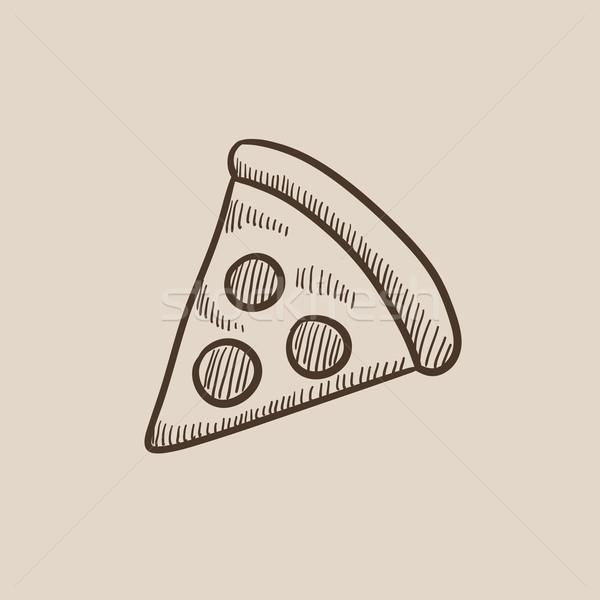 Pizza slice schets icon web mobiele infographics Stockfoto © RAStudio