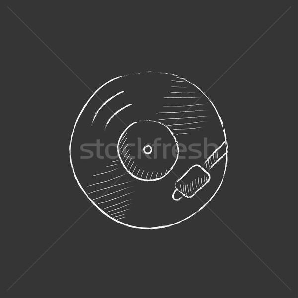 Stockfoto: Draaitafel · krijt · icon · vector