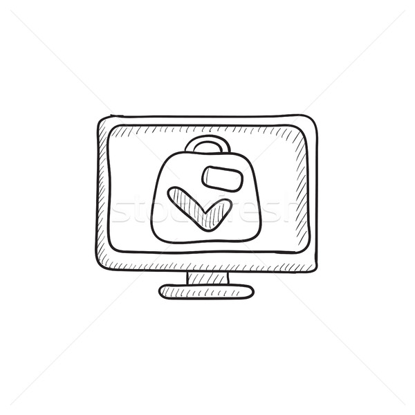Walizkę xray lotniska skaner szkic ikona Zdjęcia stock © RAStudio