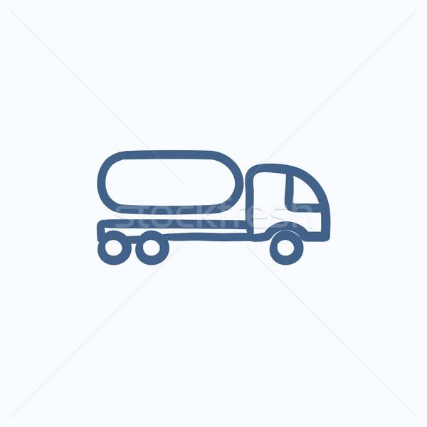 Combustível caminhão esboço ícone vetor isolado Foto stock © RAStudio