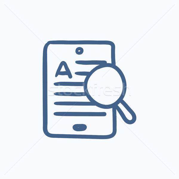Tablet and magnifying glass sketch icon. Stock photo © RAStudio