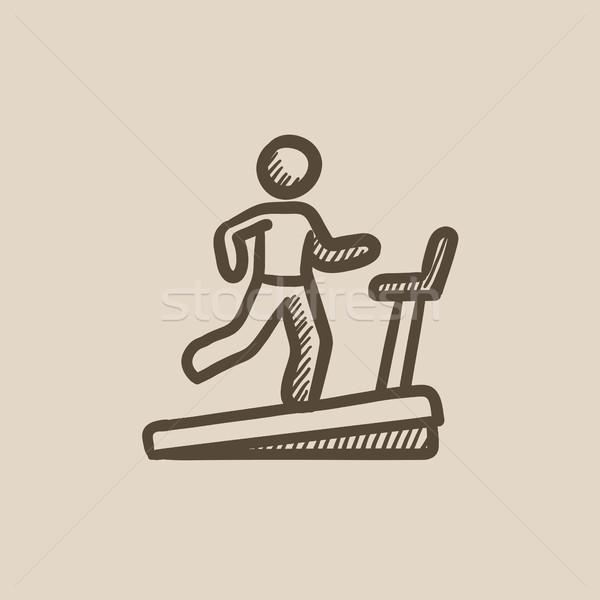 Man running on treadmill sketch icon. Stock photo © RAStudio