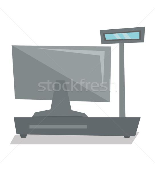 Elektronische kassa achteraanzicht vector ontwerp illustratie Stockfoto © RAStudio