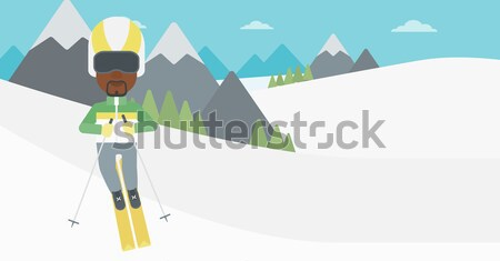 Young man skiing vector illustration. Stock photo © RAStudio