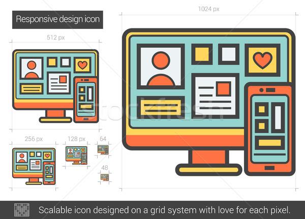Duyarlı dizayn hat ikon vektör yalıtılmış Stok fotoğraf © RAStudio