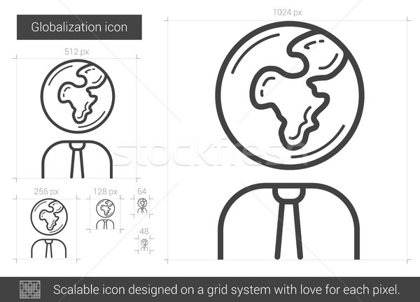 Foto stock: Globalização · linha · ícone · vetor · isolado · branco