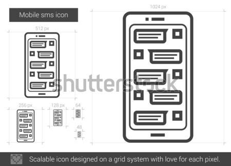 Mobil sms vonal ikon vektor izolált Stock fotó © RAStudio