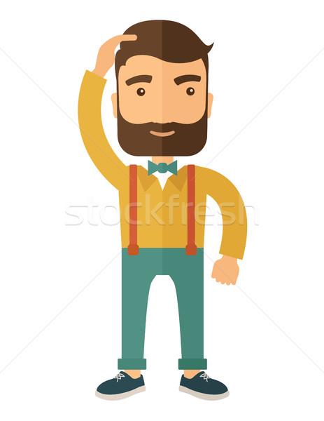 şanssız işadamı adam sakal ayakta el Stok fotoğraf © RAStudio