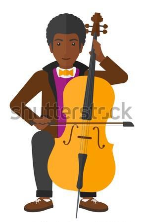 Homem jogar violoncelo moço violoncelista música clássica Foto stock © RAStudio