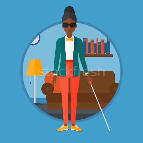 Blind woman with stick vector illustration. Stock photo © RAStudio