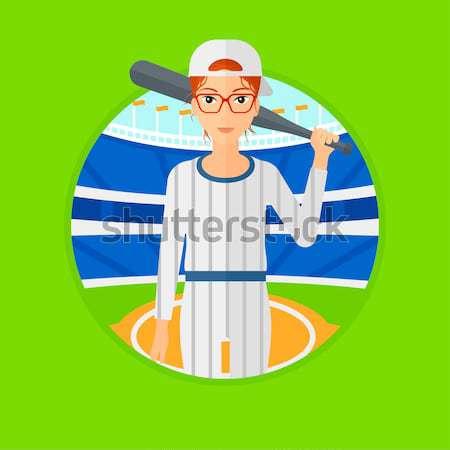 Jogador de beisebol bat em pé beisebol estádio profissional Foto stock © RAStudio