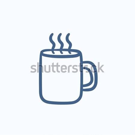 Kupa sıcak içecek kroki ikon vektör yalıtılmış Stok fotoğraf © RAStudio