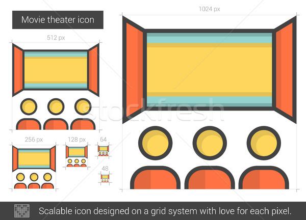 Film theater lijn icon vector geïsoleerd Stockfoto © RAStudio
