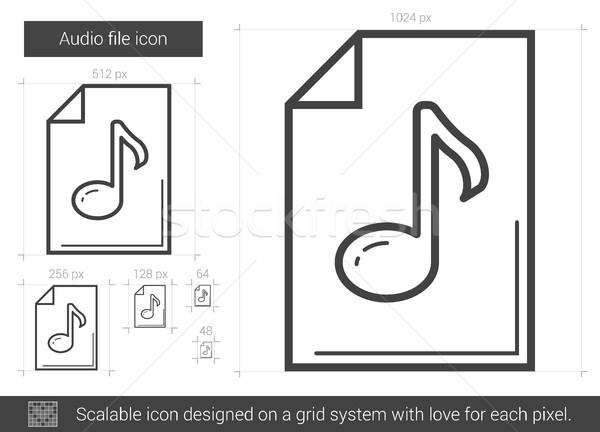 Audio akta vonal ikon vektor izolált Stock fotó © RAStudio