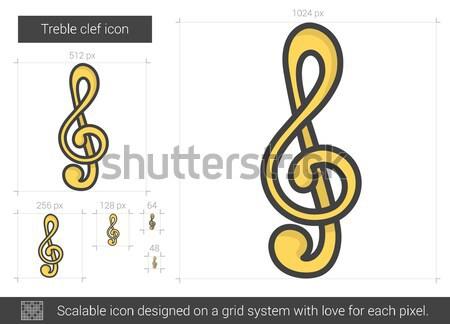 Stock photo: Treble clef line icon.