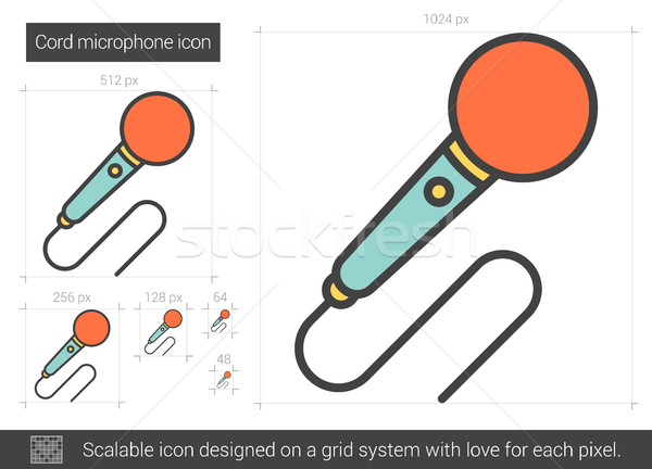 шнура микрофона линия икона вектора изолированный Сток-фото © RAStudio