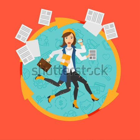 Woman coping with multitasking vector illustration Stock photo © RAStudio