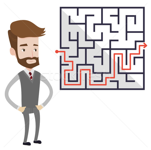 Businessman looking at the labyrinth with solution Stock photo © RAStudio
