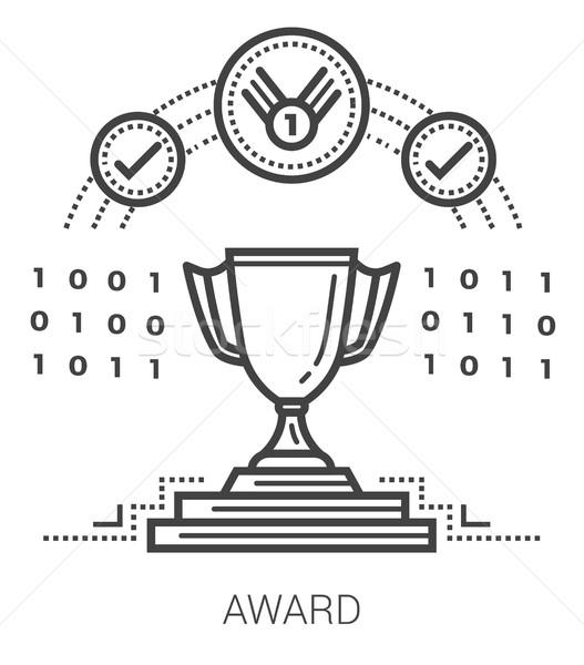 Premio line icone infografica metafora progetto Foto d'archivio © RAStudio