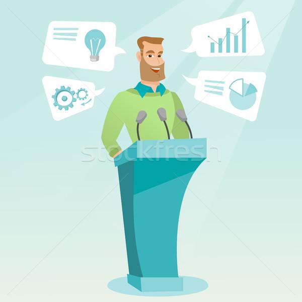 Zakenman toespraak business seminar kaukasisch gelukkig Stockfoto © RAStudio