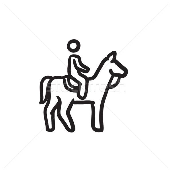 Horse riding sketch icon. Stock photo © RAStudio