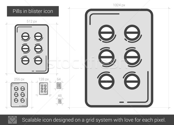 Stockfoto: Pillen · lijn · icon · vector · geïsoleerd