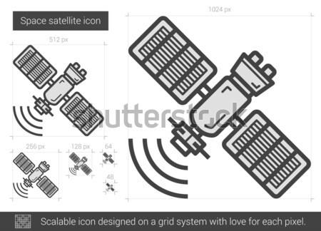 Foto stock: Espaço · satélite · linha · ícone · vetor · isolado