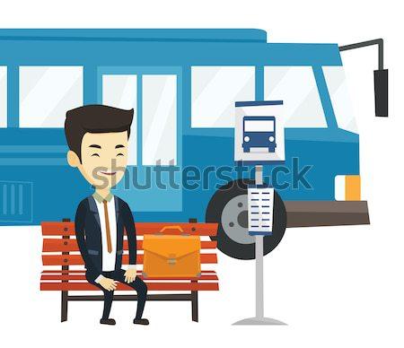 Człowiek biznesu czeka przystanek autobusowy człowiek teczki biznesmen Zdjęcia stock © RAStudio
