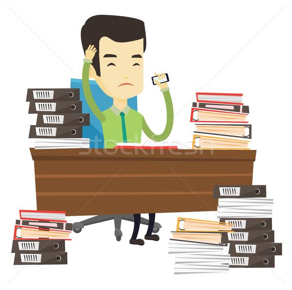 Despair business man working in office. Stock photo © RAStudio