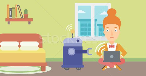 Inżynier programowanie robot młodych kobiet Zdjęcia stock © RAStudio