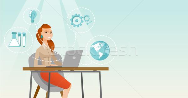 Student werken laptop vergadering tabel iconen Stockfoto © RAStudio