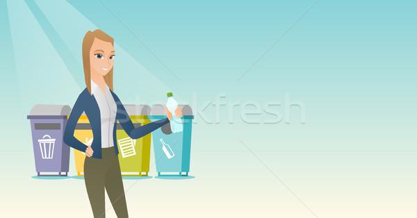 Kobieta z dala plastikowe butelki Zdjęcia stock © RAStudio