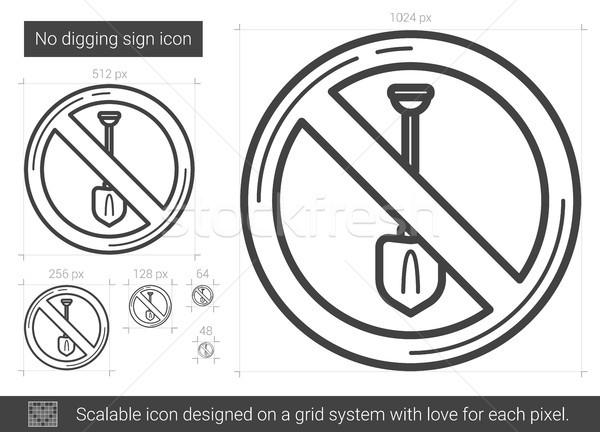 Stockfoto: Geen · teken · lijn · icon · vector · geïsoleerd