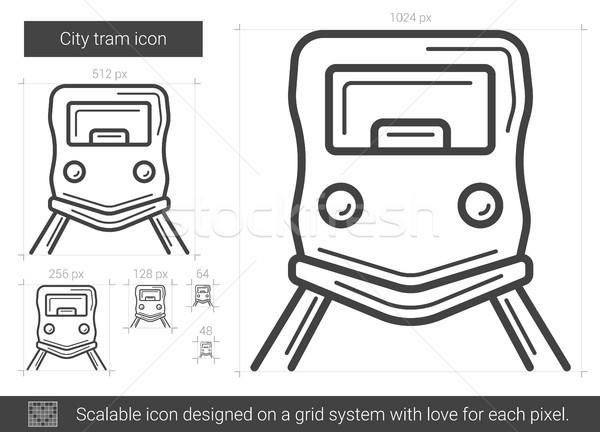 Ciudad tranvía línea icono vector aislado Foto stock © RAStudio