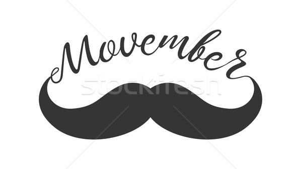 Moustache and hand lettered phrase Movember. Stock photo © RAStudio