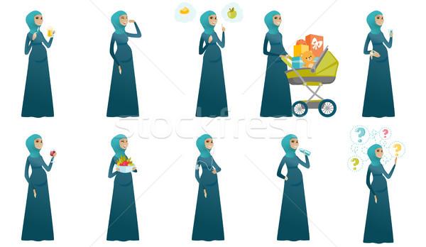 Muslim pregnant woman vector illustrations set. Stock photo © RAStudio